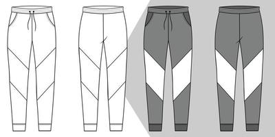 Men track pant flat sketch and outline vector