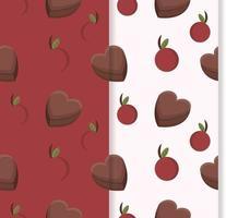 patrón sin costuras con cerezas rojas y chocolates vector