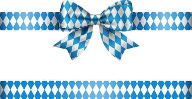 blue and white oktoberfest bow with ribbon vector