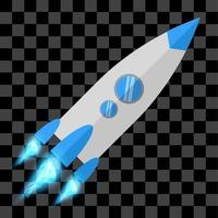 Blue rocket with fire eps vector flat design space illustration