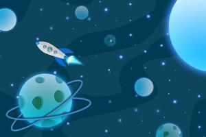 Blue planet background vector meteor asteroid galaxy sky space stars