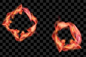 Set of red fire flame burn effect isolated element eps vector
