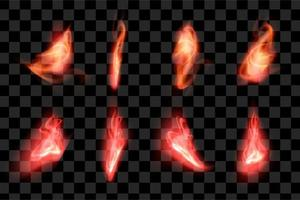 Red fire effect set collection element series flame burn eps vector