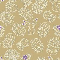 Seamless pattern of white contours of cacti with bright flowers vector