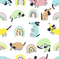 Multicolor summer seamless pattern of dachshunds and rainbows vector