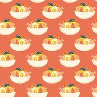 Ramen soup Seamless pattern Packaging design Editable background color vector
