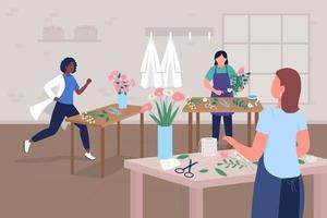 Floral workshop for doctors wellbeing flat color vector illustration