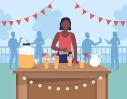 Hosting backyard cocktail party flat color vector illustration