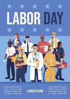 Labor day poster flat vector template