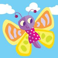 A happy butterfly in the sky wearing a spotted dress vector