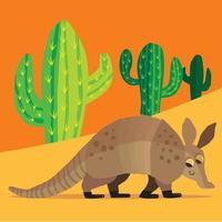 un armadillo paseando en sus botas entre los cactus vector