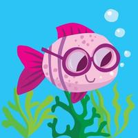 Fish with spectacles swimming over seaweed blowing bubbles vector