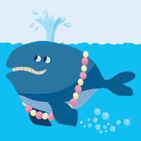 boquilla de agua soplando ballena con un collar vector
