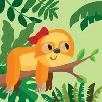 Sloth with a bow in her hair lying on a branch in the forest vector
