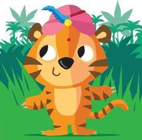 Tiger wearing a turban in the jungle vector