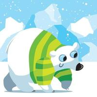 Polar bear with striped jumper in the frozen Arctic vector