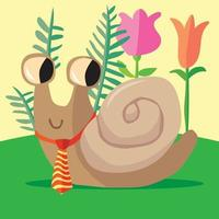 Snail in front of flowers wearing a striped tie vector