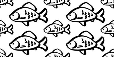 fish seamless pattern vector black and white