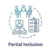Partial inclusion concept icon vector