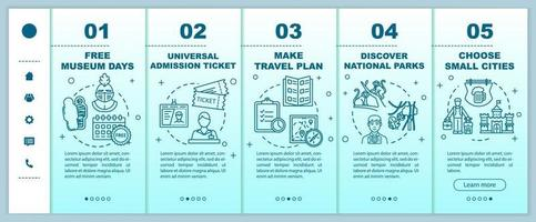 Budget tourism onboarding vector template