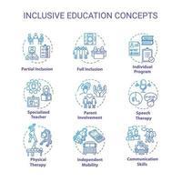 Inclusive education concept icons set vector