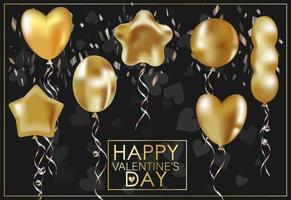 Greeting card for Valentine's Day. Golden inflatable balloons vector
