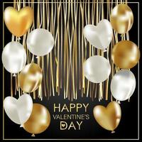 Valentine's Day greeting card. Golden inflatable balloons vector