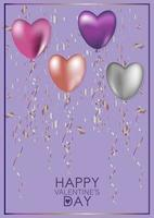 Greeting card for Valentine's Day. Hearts and serpentine vector
