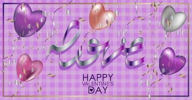 Valentine's Day greeting card. Pearly balloons vector