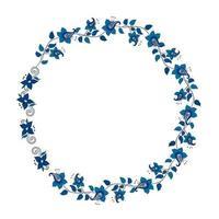 Frame with decorative ornamental flowers, wreath in kalamkari style. vector