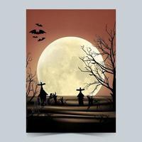 Halloween party poster template design vector