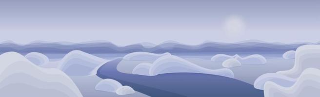 Panoramic mountain landscape, peaks and hills in the clouds - Vector