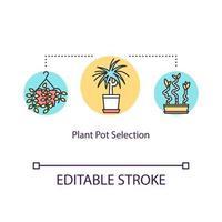 Plant pot selection concept icon vector