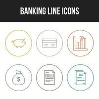 Unique Line vecor icon set of Banking icons vector