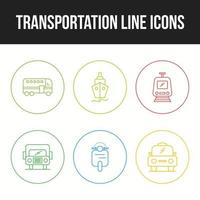 Beautiful Transportation unique line 6  icons set vector