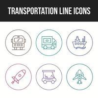 Transportation icon set of unique line icons vector