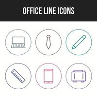Unique icon set of office line vector icons