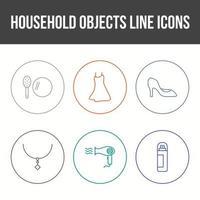 Conjunto de iconos de vector de objetos domésticos únicos