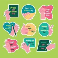 Happy Left Handers Day Sticker Template Set vector