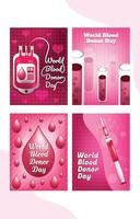 World Blood Donor Day Card Template Set vector