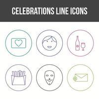 Unique Celebration Line Vector Icon Set