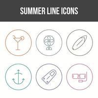Unique Summer Line Vector Icon Set
