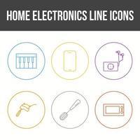 Unique Home Electronics Line Icon Set vector