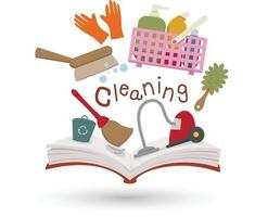 Open book and icons of cleaning. Concept of education vector