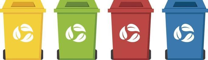 different color recycle bins vector