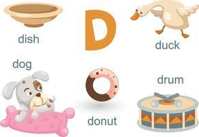 Alphabet D set vector