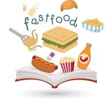 Open book and icons of fast food. Concept of education vector