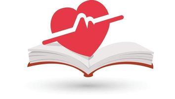 Heart beating book vector