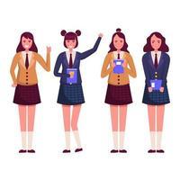 Diligent and Brilliant High School Girls Wearing Uniform vector