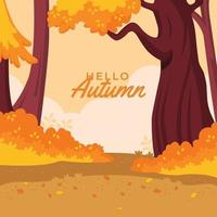 Fresh Bright Styled Autumn Forest Background vector